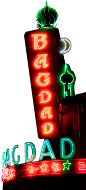 Close Up Photo Of Portland, OR Movie Theater Marquee Sign   Bagdad Theater U0026
